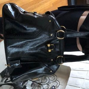 YSL muse tote large patented leather handbag
